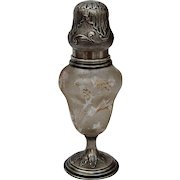 Exceptional French Art Nouveau Muffineer / Sugar Shaker by J. Gruhier (Silver, Gilt and Engraved Glass)