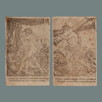 """Old Master 16th Century Set of 2 Copper Engravings from """"The Labors of Hercules"""" by Heinrich Aldegrever"""