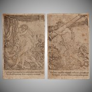 "Old Master 16th Century Set of 2 Copper Engravings from ""The Labors of Hercules"" by Heinrich Aldegrever"