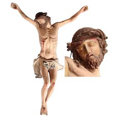 18th Century Baroque Sculpture of the Lord Jesus Christ - Polychrome Handcarved Wood