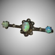 19th Century Victorian Opal and Pearl Brooch - 800 Silver Pin with Gemstones