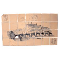 17th Century Painting on a Set of 28 Fine Antique Dutch Tiles (Delft) - View of Marienberg Wuerzburg