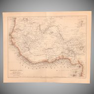 19th Century Map of West Africa incl. Ghana, Togo, Nigeria and more - 1878 Steel Engraving