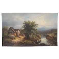 19th Century Oil Painting of an Austrian / Alpine Landscape by J. August