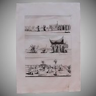 "1802 Original Copper Engraving ""Muslim life in Egypt"" from Napoleons Travels to Egypt (Vivant Denon) Page 103"