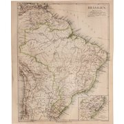 19th Century Map of Brazil incl. Rio de Janeiro, Venezuela, Chile, Trinidad and more - 1874 Steel Engraving