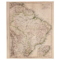 19th Century Map of Brazil incl. Rio de Janeiro, Venezuela, Chile, Trinidad and more - 1874 Steel Engraving