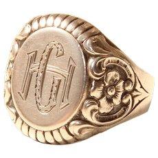 "19th Century decorative Victorian Signet Ring ""GH"""