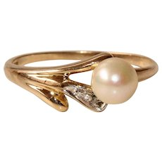 Vintage Akoya Pearl & Diamond 8 Karat Gold Ring