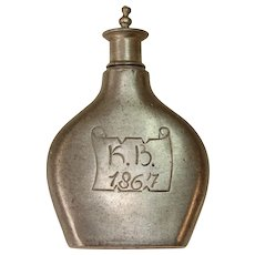 Victorian Snuff Tobacco Bottle from Germany - Engraved 1867 Pewter