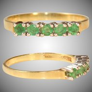 Vintage 14 Karat Gold Ring with 5 Emeralds
