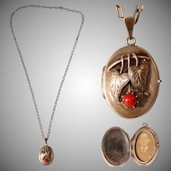 Vintage Silver and Coral Locket - Art Nouveau 835 Silver Necklace with photo