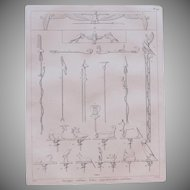 """1802 Original Copper Engraving """"Ancient Military Insignia"""" from Napoleons Travels to Egypt (Vivant Denon) Page 119"""