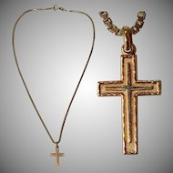 Vintage 9 Karat Gold Cross Pendent on a Gold plated Sterling Silver Chain Necklace