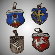Set of four Silver and Enameled Coat of Arm Charms - Traveling Shield Pendents