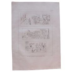 """1802 Original Copper Engraving """"Reliefs of Thebes"""" from Napoleons Travels to Egypt (Vivant Denon) Page 133"""