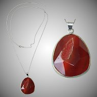 Vintage faceted Carnelian Druse Pendent on long Sterling Silver Chain necklace