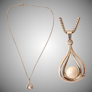Art Nouveau Revival Akoya Pearl & Sterling Silver Necklace - 1970's