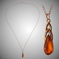 Art Nouveau Citrine Gold Filled Tear Drop Pendent Necklace