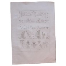 """1802 Original Copper Engraving """"Paintings of Thebes"""" from Napoleons Travels to Egypt (Vivant Denon) Page 135"""
