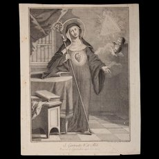 Rare 18th Century Copper Engraving of Saint Gertrude the Great by Italian Artist Pellegrino dal Colle - Red Tag Sale Item