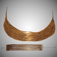 Vintage Multi Strand Choker - Wide Tier Gold plated Necklace