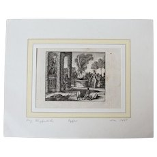 """17th Century Copper Engraving """"The Offering"""""""