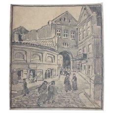 1910's Original Art Nouveau Charcoal Drawing of City Scape by Franz Brantzky