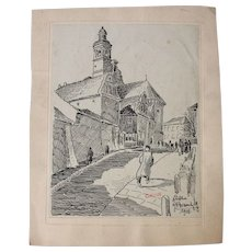 1908 Original Art Nouveau Ink Drawing of City scene in Lublin by Franz Brantzky