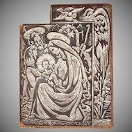 Josep Barrenechea Tubilla original Printing Block / Cliché of Nativity Scene - Wood Engraving