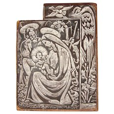 Josep Barrenechea Tubilla original Printing Block / Cliché of Nativity Scene - Wood Engraving