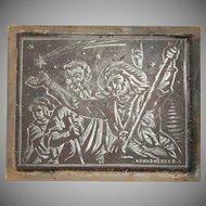 Josep Barrenechea Tubilla original Printing Block / Cliché of the biblical Magi - Wood Engraving