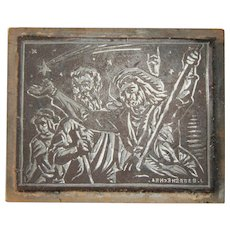 Josep Barrenechea Tubilla original Printing Block / Cliché of the biblical Magi - Wood Engraving