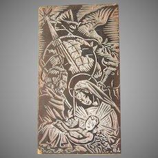 Josep Barrenechea Tubilla original Large Printing Block / Cliché of Nativity Scene - Wood Engraving