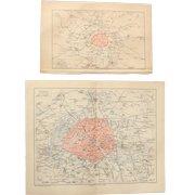 19th Century Set of two Maps of Paris - Fortification & Plan of Paris - 1874 Steel Engraving