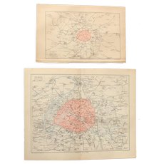 19th Century Set of two Maps of Paris - Fortification & Plan of Paris - 1874 Steel Engraving