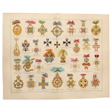 19th Century Print of European Medals - 1877 Polychrome Steel Engraving