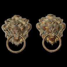 Set of two 19th Century Bronzed Metal Lion Head Handles - Red Tag Sale Item