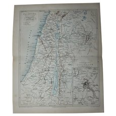 19th Century Map of Palestine including Jerusalem, The Dead Sea, Haifa, Damascus and more - 1877 Steel Engraving