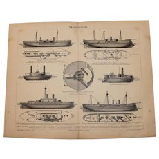 19th Century Print of War Ships - 1877 Nautical Steel Engraving