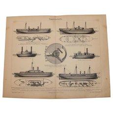 19th Century Print of War Ships - 1877 Nautical Steel Engraving