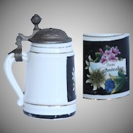 Small Memorial Beer Stein - Vintage Souvenir Porcelain & Pewter Mug