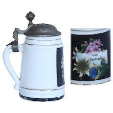 Small Memorial Beer Stein - Vintage Souvenir Porcelain & Pewter Mug
