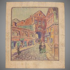 Rare Expressionist Franz Brantzky Original Pastel Drawing of Hasidic Jews in the streets of Lublin