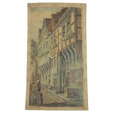 Original Pastel Drawing of  the streets of Zons on the Rhine River Germany by Franz Brantzky