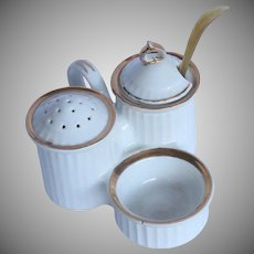 19th Century Salt & Sugar Dish - Porcelain Spice Server with original antler spoon