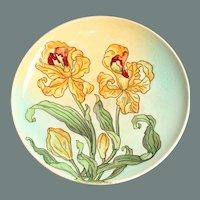 Art Nouveau Majolica Pomp Plate with handpainted Lily Decor - Polychrome Pottery 1900's