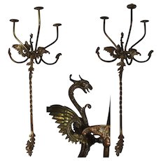 Masterpiece Art Nouveau Set of two Dragon Hat / Coat Racks - Catalan Modernisme Decoration