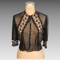 19th Century Victorian Black Silk Blouse