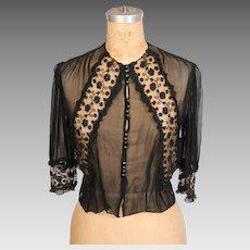 19th Century Victorian Black Silk Blouse